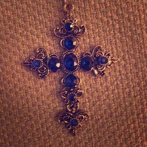 Blue Sapphire Crucifix Necklace Christian Pretty